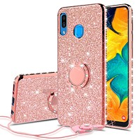 Samsung Galaxy A20 Case, Glitter Cute Phone Case Girls with Kickstand,Bling Diamond Rhinestone Bumper Ring Stand Sparkly Luxury Clear Thin Soft Protective Samsung Galaxy A20 Case for Girl Women - Rose Gold