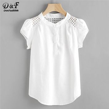Dotfashion Eyelet Embroidered Panel Blouse 2018 White Button Band Collar Cap Sleeve Top Women Casual Petal Sleeve Blouse