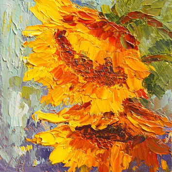 Original oil pianting, Sunflower Smiles, Sunflowers Mini Treasure palette knife painting 4x4 inch, small format art, flower girl gift