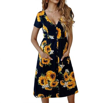 Women Sexy V Neck Party Dress New Sunflower Printing Short Sleeve Buttons Pocket Casual Loose A Line Summer Dresses