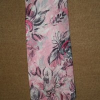 necktie in pink sateen material with floral pattern of black and wh...... | rocksntwigs - Clothing on ArtFire