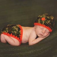 American Made Little Baby Boy Hunter Camo Baby Diaper Cover and Baby Hat Set-  Baby Shower Gift,