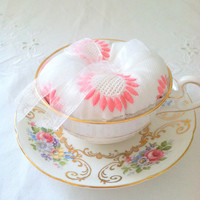 Antique Royal Grafton Bone China Teacup and Saucer Re-Purposed Pinned Cushion Sewing Room Decor