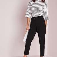 Missguided - Belted High Waist Cigarette Pants Black