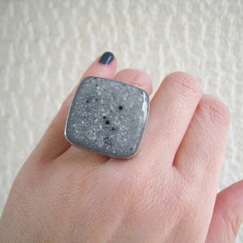 Faux granite grey ring, ash marble stone imitation earthy natural minimal big chunky silver square adjustable simple modern
