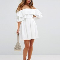 ASOS PETITE Ruffle Off Shoulder Mini Dress at asos.com