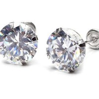 14K white Gold Round CZ Stud Earrings with screw back for kids sizes 2mm-7mm