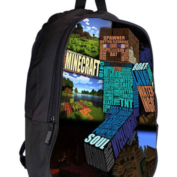 Minecraft Steve Typograpghy 6c76b651-002c-48c9-a9ee-585021369e4c for Backpack / Custom Bag / School Bag / Children Bag / Custom School Bag *02*