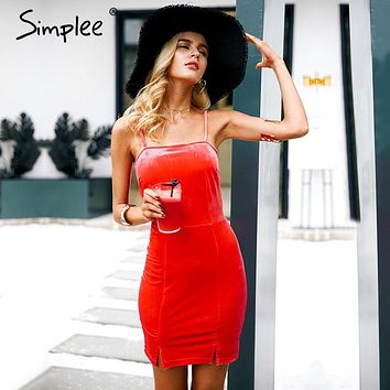 Simplee Sexy strap backless velvet bodycon dress women Casual slim party dresses robe femme 2017 autumn winter elegant vestidos