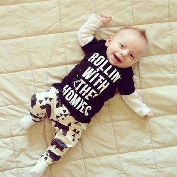 Fasion Infant Baby Boys Clothing Sets Cotton Letter Printed Long Sleeve 2pcs Children Outfits New NW