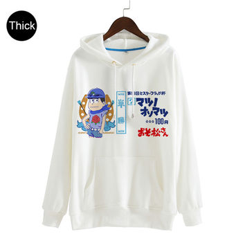 Osomatsu-San Hooded Sweatshirt Pullover Harajuku Coat Japanese Kawaii Cute Thick White Hoodie