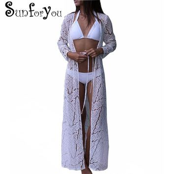 Beach Cover up Women Lace Crochet Bikini Long Cover up Pareos Para playa Tunics for Beach Robe de Plag Bathing suit Cover ups