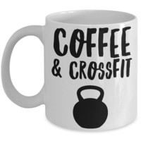 Coffee & Crossfit Mug Kettlebell Ceramic Coffee Cup for Exercise & Fitness Enthusiasts
