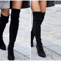 Vintage Suede Finish Black Thigh High Boots, Jeffrey Campbell Style Fashion, Size 40, 8.50 Women