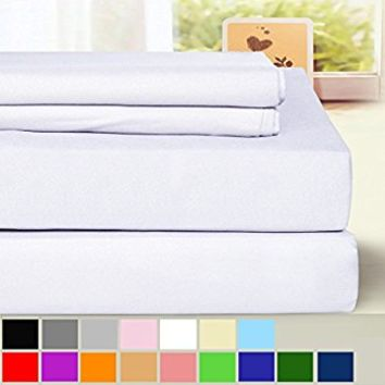 BLC Bed Sheet Set, Hypoallergenic Microfiber 4-piece sheets with 14-Inch Deep Pocket(Queen, White)