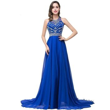New Long Prom Dresses Royal Blue Beaded Chiffon Evening Party Formal Prom Dress Sexy Backless