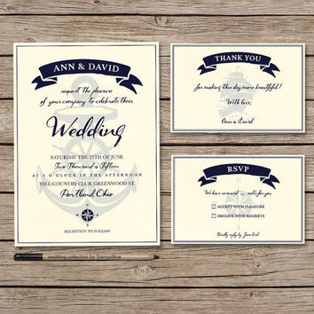 Nautical Wedding Invitation Set Printable - Digital File - Summer Wedding Invitation Suite - Boat & Anchor