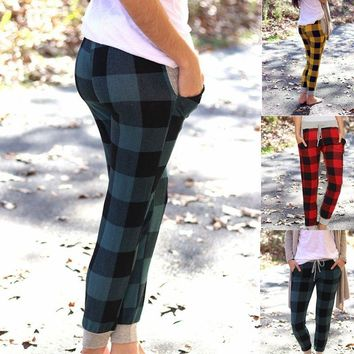3 Colors Women's Fashion Adorable Buffalo Plaid Joggers Loose Fitting Casual Long Pants Elastic Waist Slim Fit Sexy Pants