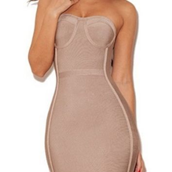 Beige Strapless Fishtail Ruffle Zip Back Bandage Bodycon Midi Dress