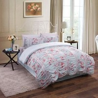 3pc Blue Pink Shabby Chic Asian Cherry Blossom Queen Comforter Set