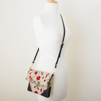 Cross Body Bag and Clutch Combination with Red Poppy Pattern Fabric and Black Leather