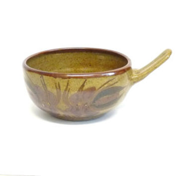 Soup Bowl with Handle, Unusual Shape, Brown, Rustic, Studio Pottery, Soup Mug, Cup, Houseware, 1960's, Retro, mid century