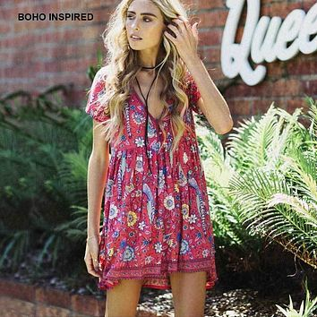 Boho Inspired summer dresses birds floral print rayon dress women V-neck hippic chic plus size bohemian dresses vestidos 2017