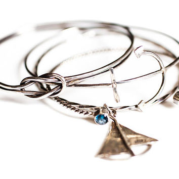 Handmade Anchor Bangle, antiqued sterling hand forged nautical sailboat boat anchor ocean sea summer beach jewelry bracelet rustic stacking