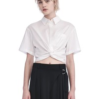 TWIST FRONT SHORT SLEEVE CROP SHIRT | TOP | Alexander Wang Official Site
