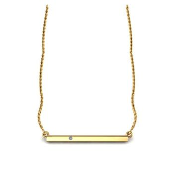 Delicate 14K Yellow Gold Bar Necklace with White Diamond