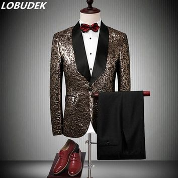 (jacket+pants+tie) Groom's wedding dress suit Leopard compere men's dress singer Prom formal costumes Nightclub DS show outfit