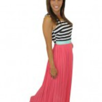 Coral Maxi Dress with Pleated Bottom - Danielle