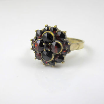 Edwardian Garnet Ring, Bohemian Rose Cut Garnet Ring, Antique Engagement Wedding Promise Ring, Garnet Cluster Ring, Gold Silver Ring Size 7