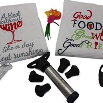 Wine Accessories and Gifts Includes Vacuum Pump and Stopper Foil Cutter Wine Towels Set Aerator Pourer Markers for Glasses  Great Wine Accessory Kit