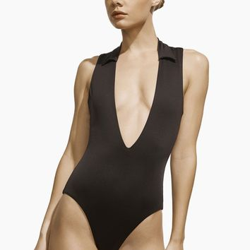 Colette Plunging One Piece Swimsuit - Black
