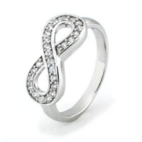 Sz 9 Sterling Silver Cubic Zirconia Infinity Symbol CZ Wedding Band Ring