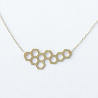 Brass Honeycomb Necklace