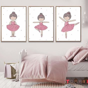 Pink Dancing Girls Cartoon Poster Modern Canvas Painting For Girl Nursery Bedroom Wall Picture For Home Decor Wall Art Prints
