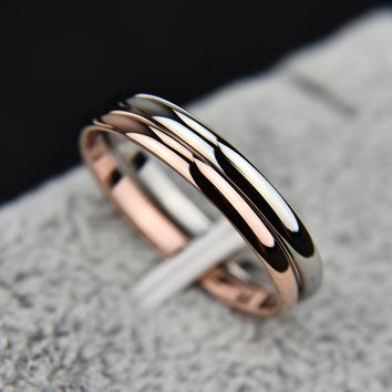 KNOCK  2 MM Thin Stainless Steel Three color Couple Ring Simple Fashion Rose Gold Finger Ring For Women  jewelry