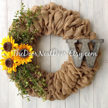 Sunflower Burlap Wreath - Summer Wreath - Monogram Burlap Wreath - Metal Monogram