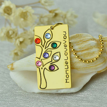 Personalized Birthstone Family Tree  Necklace Gold Engraved Bar Mother Necklace To A Mom Family Necklace Birthstone Jewelry