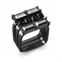 Hematite and Jet Stackable Ring Set | Capwell