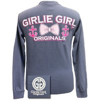 Girlie Girl Originals Collection Anchor Bow Comfort Colors Bright Long Sleeves T Shirt
