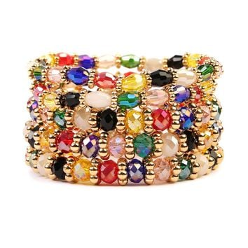 Multicolor Clear Glass Beaded Bracelet