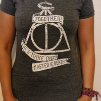 "Harry Potter ""Deathly Hallows"" T-Shirt. Handmade Silkscreen in white ink on a grey shirt."