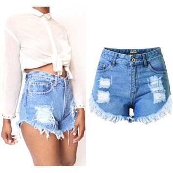 SUNSPA Hot Sale 2017 Tassel retro sexy women jeans Summer Denim Shorts Casual women Jeans Shorts Hole Shorts New Fashion 7 size
