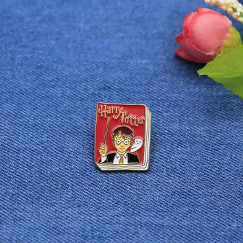 Children's Book Brooches Harry Potter Enamel Pin for Girls Lapel Pin Hat/bag Pins Denim Jacket Shirt Women Brooch Badge SC4243