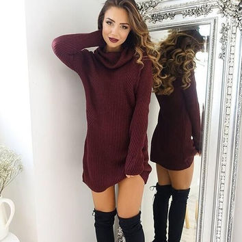 Cowl Neck Knitted Tunic Sweater