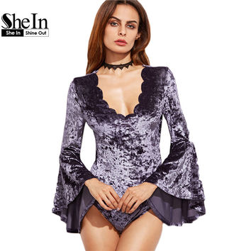 SheIn Purple Women Sexy Bodysuit Velvet Winter Womens Full Bodysuits Long Bell Sleeve Scallop Deep V Neck Bodysuit