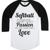 softball: the game that i love-Unisex White/Black T-Shirt